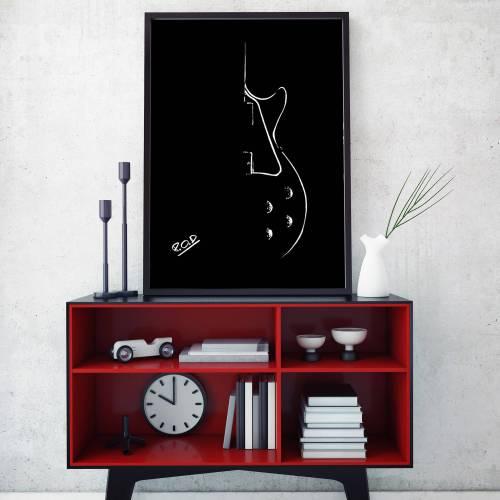 tableau moderne de guitare au pastel Guitar modern painting