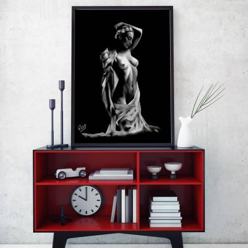 tableau de femme nue 46 au pastel sec nude women painting
