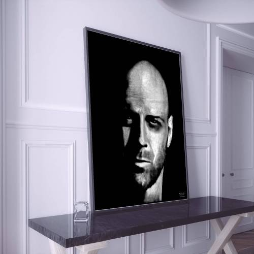 tableau moderne portrait de Bruce Willis au pastel sec