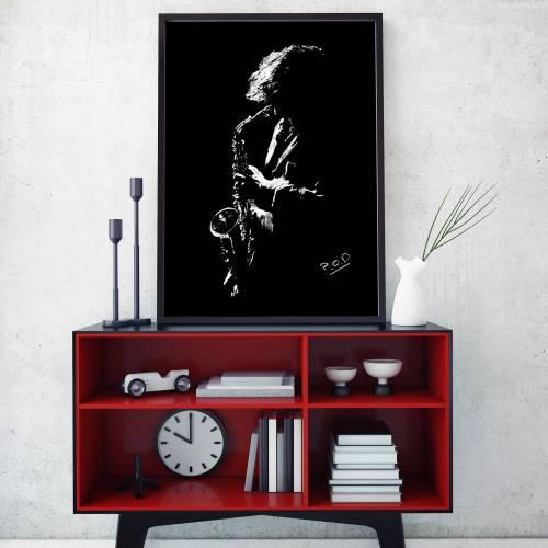 Le saxophoniste : Tableau de musique 1 saxophoniste au pastel sec. Saxophonist modern painting