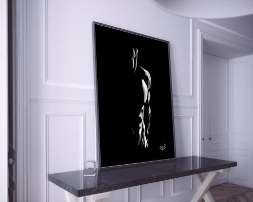 nu artistique masculin – tableau moderne d'homme nu 5 au pastel sec