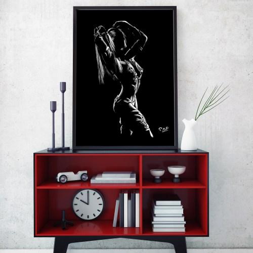 tableau moderne de Silhouette de femme 95 au pastel sec nude woman painting