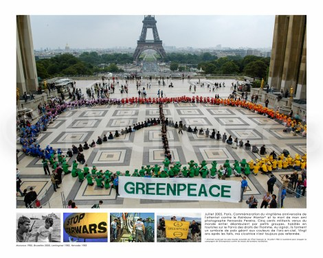 GP activists protest against nuclear transport ship Pacific Fisher. North Atlantic.    (The Greenpeace story book page 62 similar)