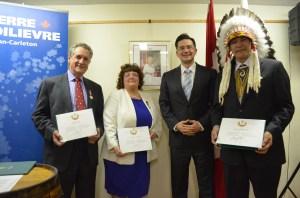 L to R: Mr. Ronald Cohen, Mrs. Coreen Atkins-Sheldrick, MP Pierre Poilievre, Chief Kenny Blacksmith