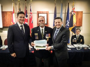 MP Pierre Poilievre, Barrhaven Legion President Ed Schelenz and RCMP Superintendent Greg Peters