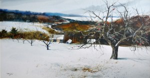 L'hiver en Estrie (Aquarelle 15 x 30 po / 38 x76 cm)