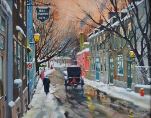 Rue Ste-Geneviève, Québec (Gouache 16 x 20 po / 41 x 51 cm)
