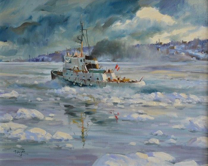 Janvier à Québec (Huile 16 x 20 po / 41x 51 cm)