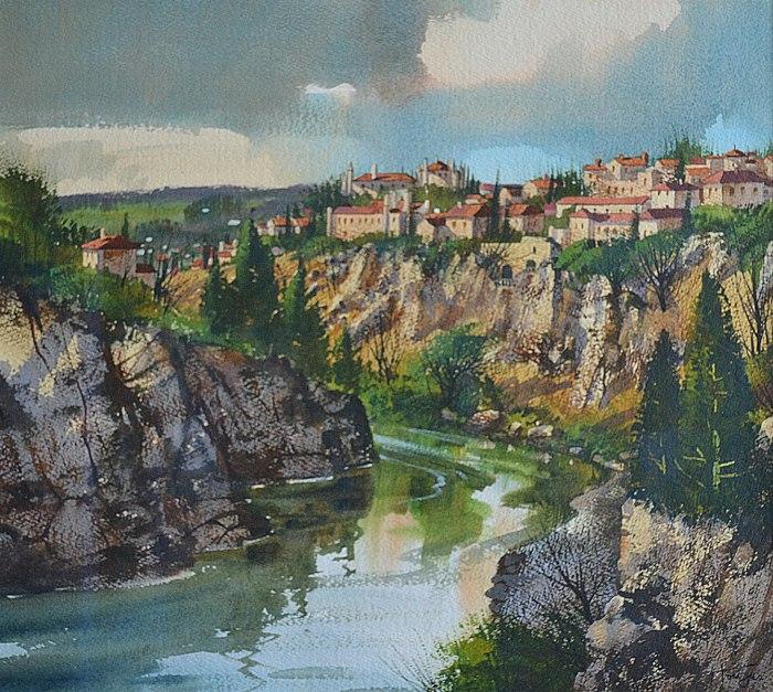 Éclaircie sur Tolède (Aquarelle 16 x 18 po / 41 x 46 cm )