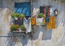 Fenêtre de L'Alfama, Lisbonne (Aquarelle 14 x 20 po / 32 x 51 cm)