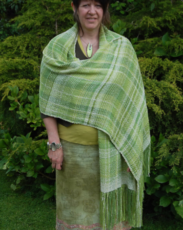 Hand woven silk wedding shawl