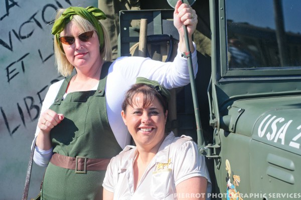 Two women dressed as Americans at the 1940s weekend in Sheringham, North Norfolk 2012