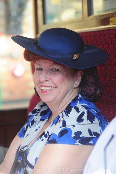 Lady in blue hat