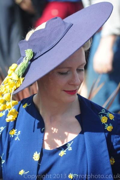 Stunning blonde in blue hat