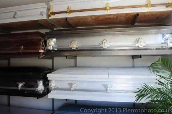 Coffins in funeral parlour, Sanama Dominican Republic