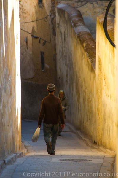 Moroccan man in the medina at Fez, Morocco