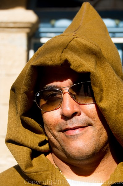 Moroccan man in a typical traditional djellaba in the medina in Essaouira, Morocco