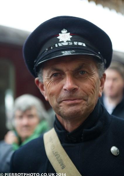 Man in 1940s fireman's uniform at 1940s weekend Sheringham North Norfolk 2014