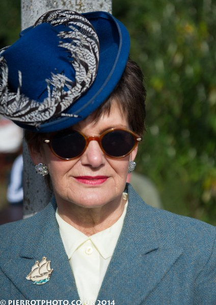 1940s weekend in Sheringham North Norfolk 2014 - woman in blue hat