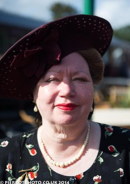 1940s weekend in Sheringham North Norfolk 2014 - woman in large hat