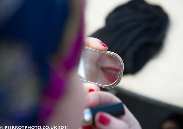 1940s weekend in Sheringham North Norfolk 2014 - mirror and makeup