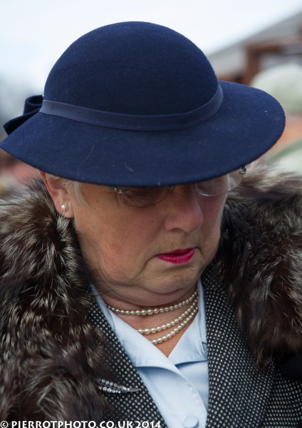 1940s weekend in Sheringham North Norfolk 2014 - woman in fur stole and blue hat
