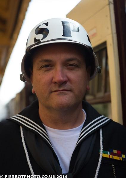 1940s weekend in Sheringham North Norfolk 2014 - naval police officer