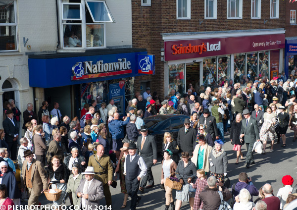 1940s weekend in Sheringham North Norfolk 2014 - enactors and civilians in Sheringham parade