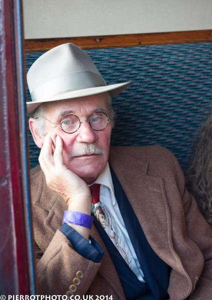 1940s weekend in Sheringham North Norfolk 2014 - thoughtful man on train