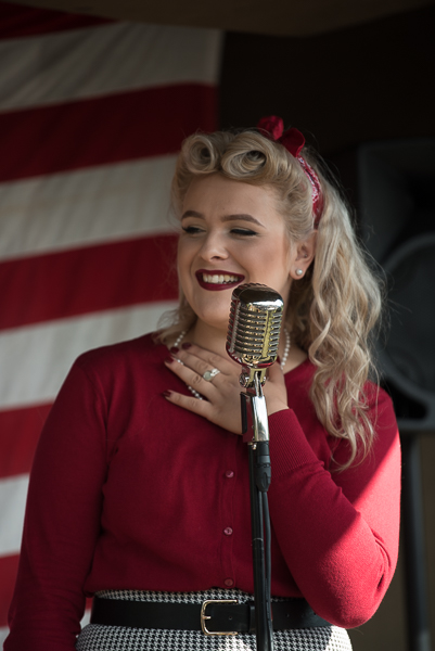 1940s weekend in Sheringham North Norfolk 2017. 1940s singer in red dress