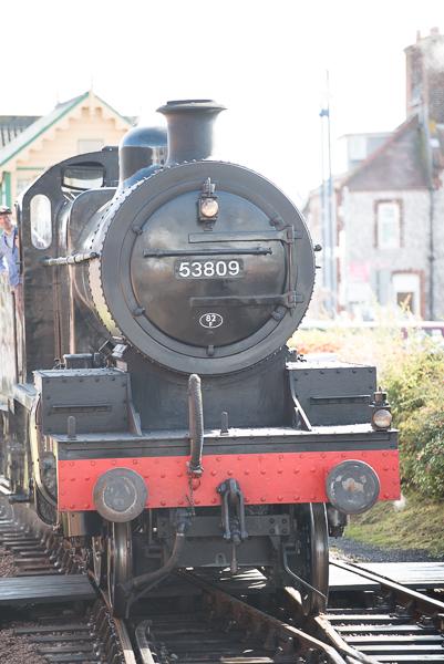 Steam engine heading towards the camera