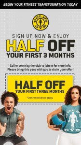 Golds Gym Half Off