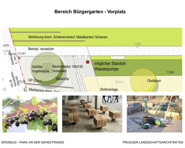 Gehestrasse Vorplatz am Bürgergarten