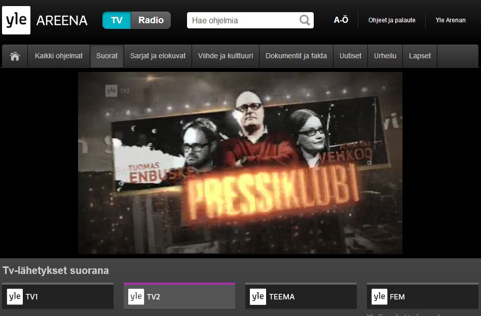 YLEn tv-kanavat nyt suorana netissä - Pietar.in