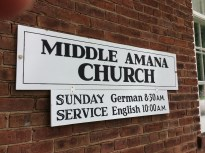 Unlike the church in Homestead, the similar building in Middle Amana still hosts Sunday worship