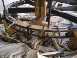 ruota idraulica, inizio ricostruzione.