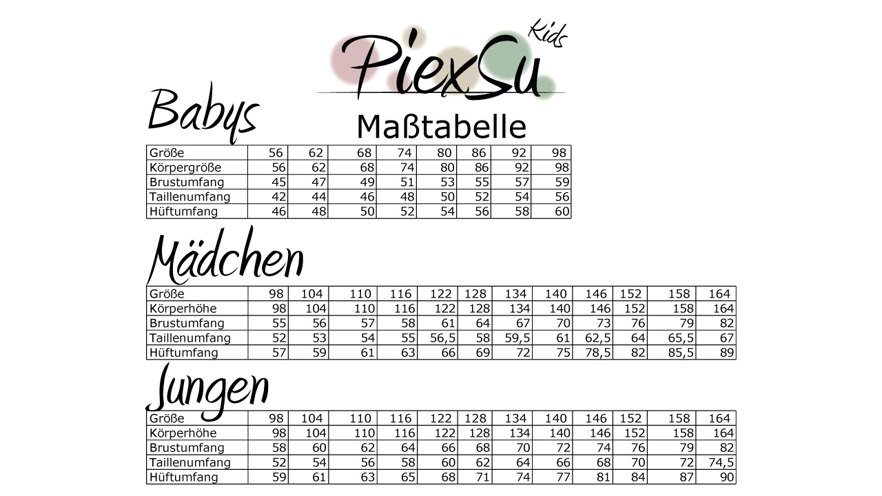 PiexSu-Schnittmuster-ebooks-Maßtabelle-Kinder