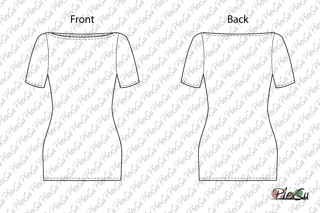 PiexSu-Schnittmuster-Betty-U-Boot-Ausschnitt-Shirt-nähen-eBook-Nähanleitung-jersey-kurzer-Ärmel