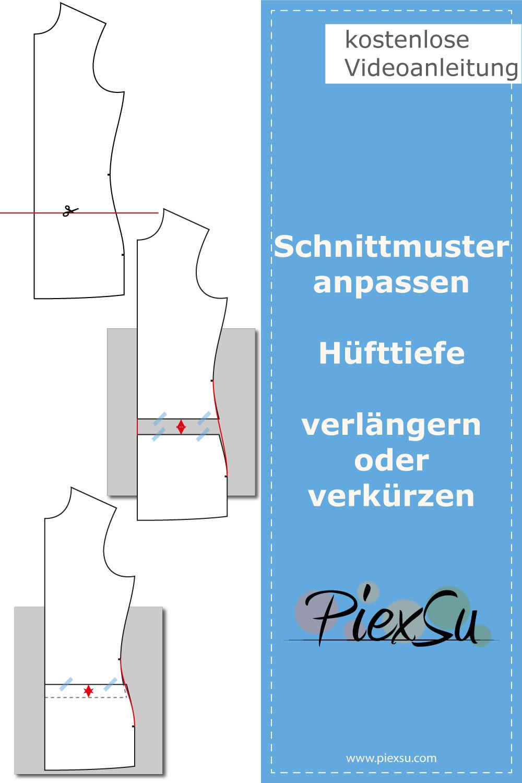 PiexSu-Schnittmuster-anpassen-Hüfttiefe-anpassen-Hüftlänge-ändern-Pinterest