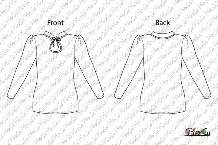 PiexSu-Schnittmuster-Shirt-Fora-Mädchen-technische-Zeichnung