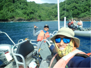 Selfie with Kelvin Gorospe and small boat SE-6 on the north side of Tutuila during a surface interval