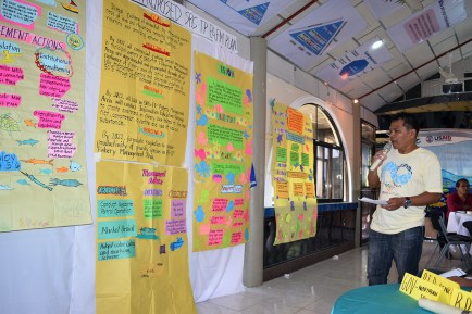Local government unit participants present their group work. Photo: NOAA Fisheries/Supin Wongbusarakum