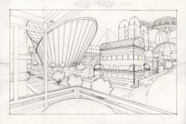 Organic City blueprint. Pencil, micron on arches.