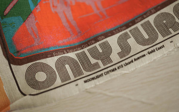 Retro Surfing poster - Sand washed linen