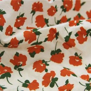 Salt shrink cotton retro small orange flower printing fabric spring and summer shirt skirt -yrby.OF