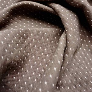 Washed cotton with knitted dot chocolate -xg.NDCHO
