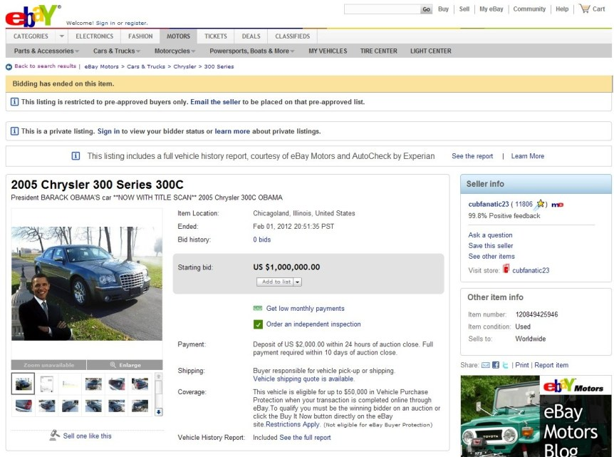 Obama car eBay PigFlog