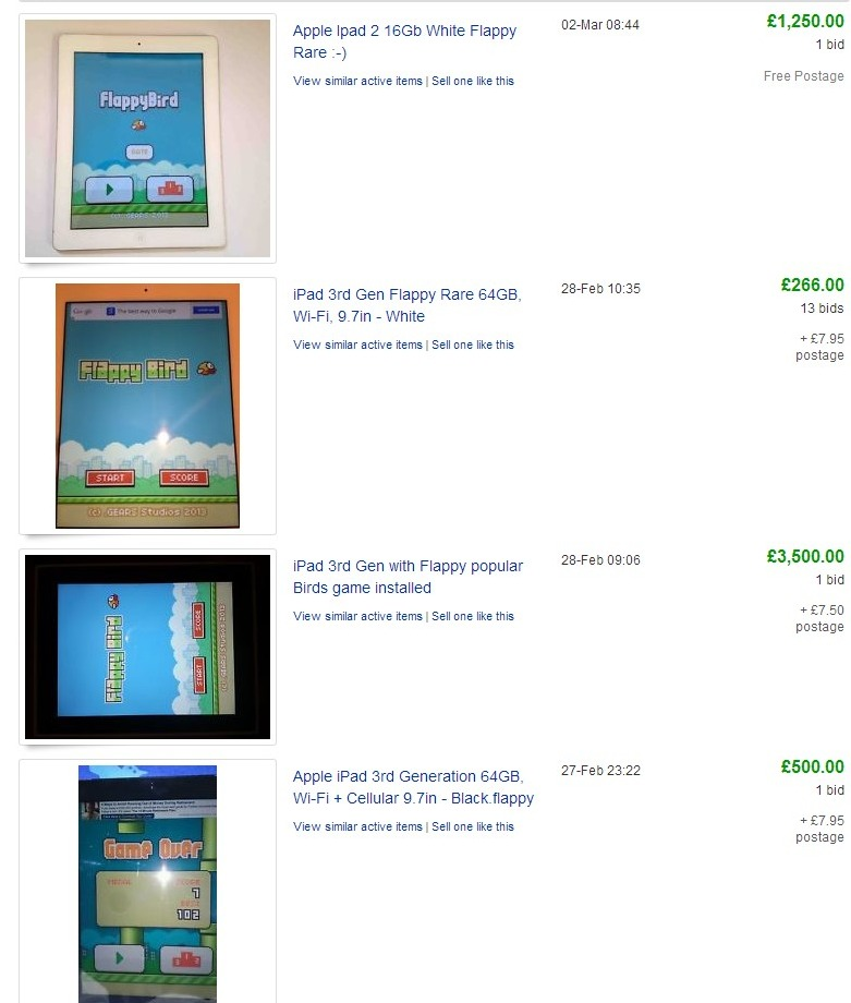 Sell your iPads iPhones with Flappy Bird at a huge profit