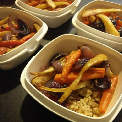 Roasted Sesame Veg with Pearl Barley and Cinnamon Dressing Alex Hely-Hutchinson 26 Grains