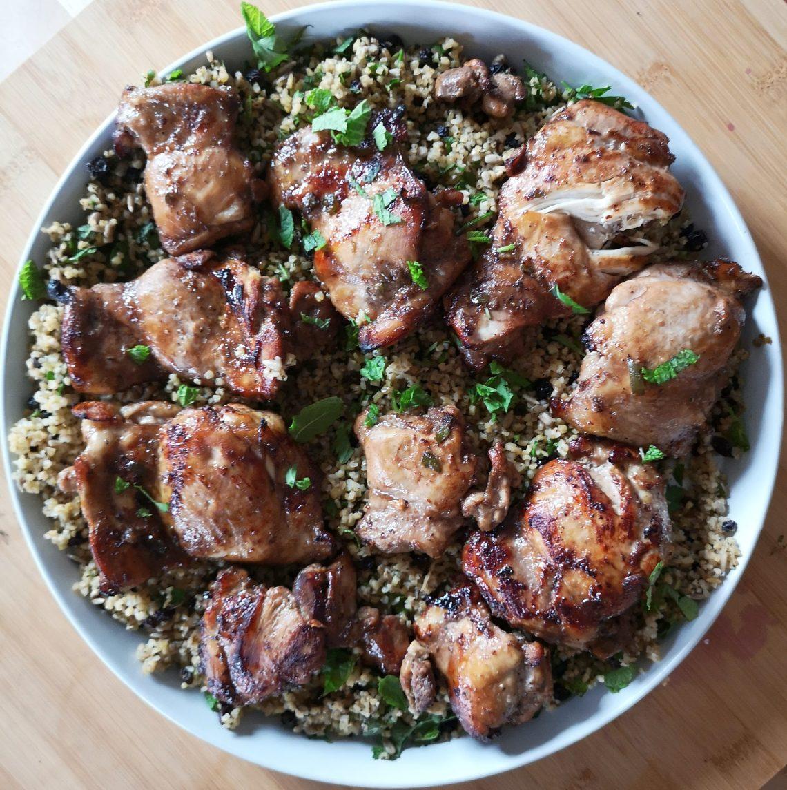 Pomegranate molasses chicken with bulgar wheat salad Honey & Co